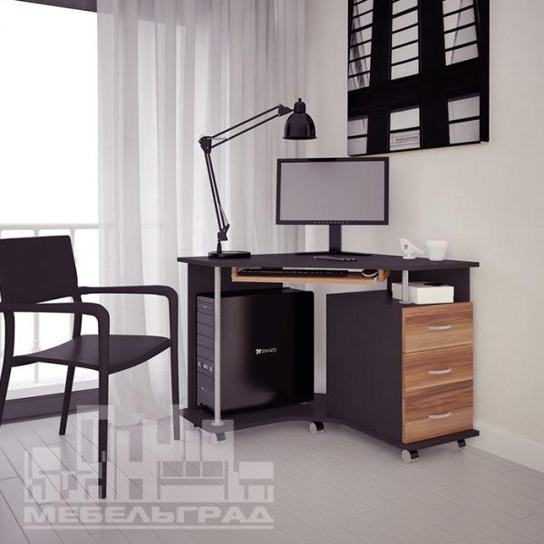 угловой стол письменный, компьютерный с тумбой черный
