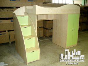 Мебель для детской комнаты: двух-ярусная кровать, шкаф. салатовая
