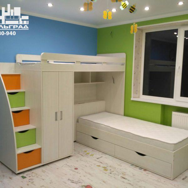 Детская мебель Калининград Мебель для детской комнаты Детская комната стеллажи полки двух-ярусная кровать шкаф