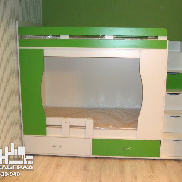 Зеленая детская мебель Калининград Мебель для детской комнаты: двух-ярусная кровать и шкаф. салатовая с белым