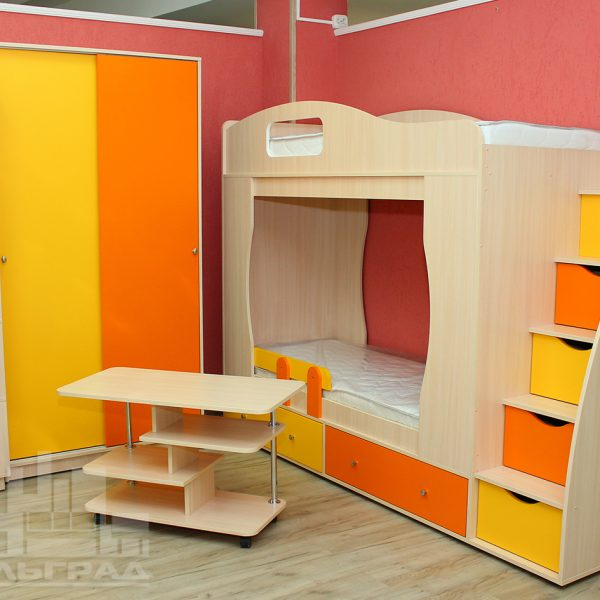 Оранжевая с желтым детская мебель Калининград Детская мебель на заказ по вашим размерам Калининград