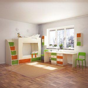 детская мебель комната для двух детей двух ярусная кровать письменные столы